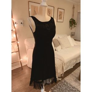 Black strapless dress with cool tulle detail